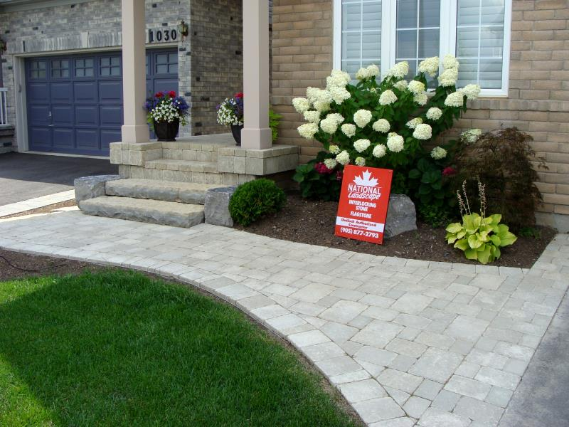 National landscape interlocking stone flagstone wood for Garden design ideas canada